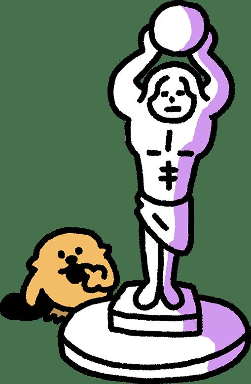 球体をかかげた石像のイラスト