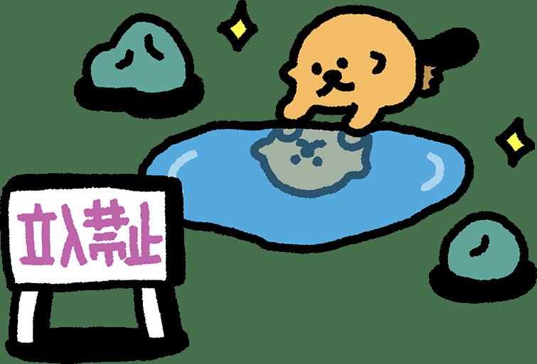 水たまりを覗くラッコのイラスト